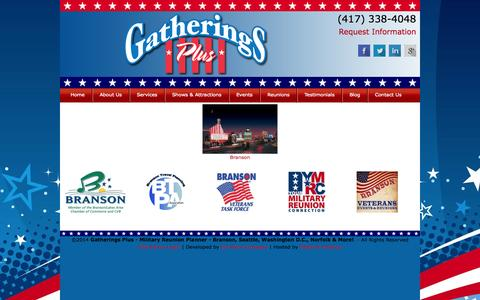 Screenshot of Products Page reunionpro.com - Products | Gatherings Plus - Military Reunion Planner - Branson, Seattle, Washington D.C., Norfolk & More! - captured Oct. 2, 2014