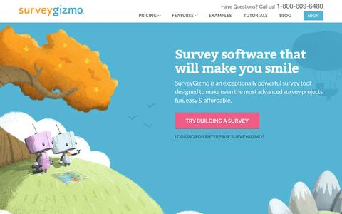 Screenshot of Home Page surveygizmo.com - SurveyGizmo | Professional Online Survey Software & Form Builder - captured Aug. 30, 2015