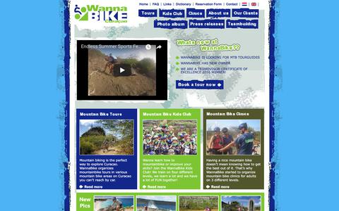 Screenshot of Home Page wannabike.com - Mountain bike tour Curacao, a great activity - captured Oct. 26, 2017