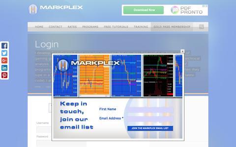 Screenshot of Login Page markplex.com - Login | TradeStation EasyLanguage Tutorials & Programming - captured March 27, 2016