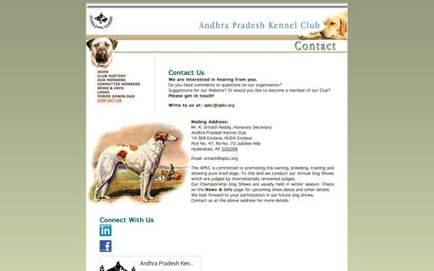 Screenshot of Contact Page apkc.org - :: Andhra Pradesh Kennel Club :: - captured Oct. 4, 2014