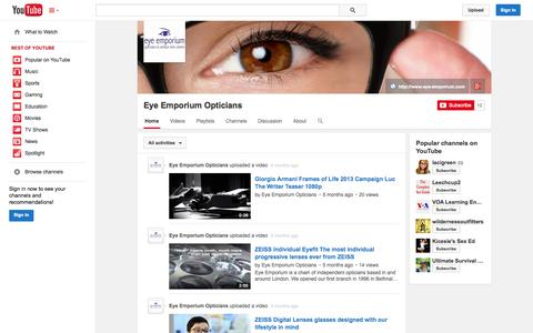 Screenshot of YouTube Page youtube.com - Eye Emporium Opticians  - YouTube - captured Nov. 2, 2014