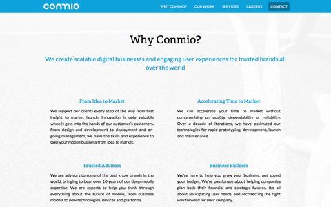 Screenshot of Team Page conmio.com - Why Conmio - Conmio - captured May 9, 2017