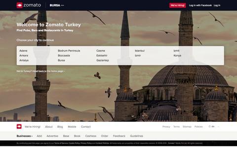 Screenshot of zomato.com - Türkiye bölgesindeki restoranlar, Türkiye Restoranları | Zomato - captured June 18, 2015