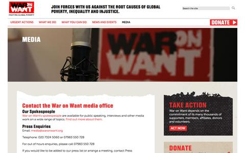 Screenshot of Press Page waronwant.org - Media | War on Want - captured Sept. 21, 2018