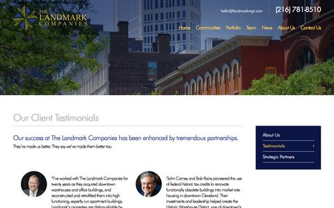 Screenshot of Testimonials Page landmarkmgt.com - Our Clients Testimonials - The Landmark Companies Cleveland, OH - captured Oct. 17, 2017