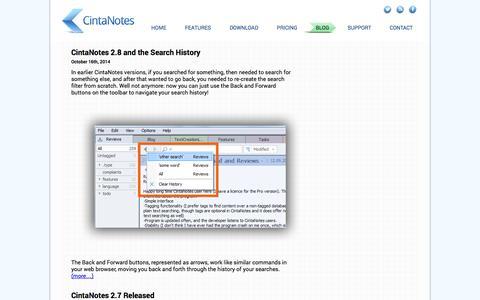 Screenshot of Blog cintanotes.com - CintaNotes - Note Taking Software  |  Blog - captured Nov. 4, 2014
