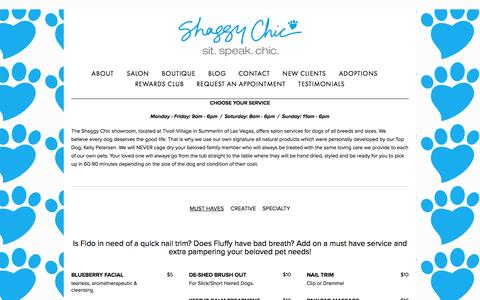 Screenshot of Menu Page shaggychic.com - Menu — Shaggy Chic - captured Oct. 4, 2014