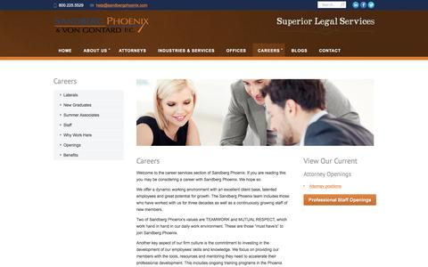 Screenshot of Jobs Page sandbergphoenix.com - Law Firm Careers in St. Louis, Kansas City and Southern Illinois - captured Nov. 18, 2016