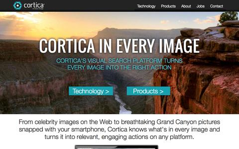 Screenshot of Home Page cortica.com - Cortica: In Every Image - captured Jan. 15, 2015