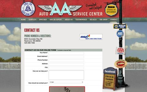 Screenshot of Contact Page aaautoservicecenter.com - Contact AA Auto & Car Service Center in Redmond, Washington WA - captured Dec. 22, 2015