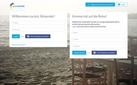 Screenshot of Signup Page permondo.com - permondo erzählt die Geschichte deiner Reise - captured June 30, 2017