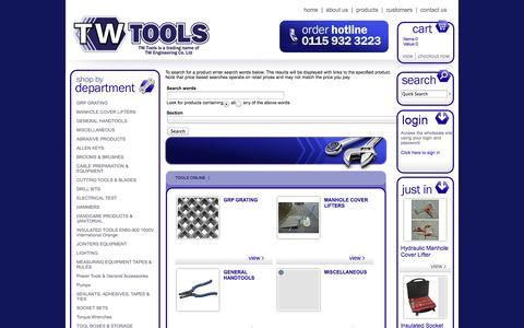 Screenshot of Products Page twtools.co.uk - TW Engineering Co Ltd Tools Online - captured Oct. 7, 2014