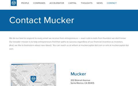Screenshot of Contact Page mucker.com - Contact | Mucker Capital - captured Feb. 7, 2019