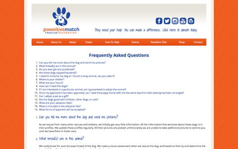 Screenshot of FAQ Page pawsitivematch.org - Pawsitive Match Rescue Foundation - Calgary Based Dog Rescue - captured Oct. 2, 2014