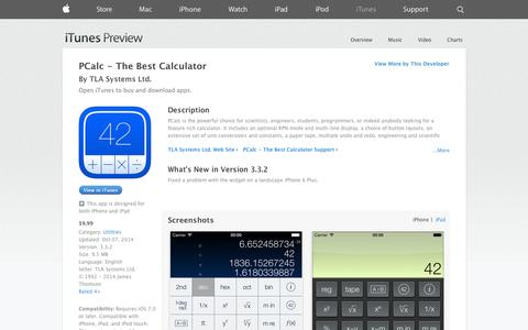 Screenshot of iOS App Page apple.com - PCalc - The Best Calculator on the App Store on iTunes - captured Oct. 29, 2014