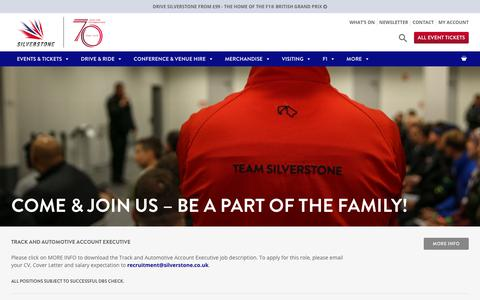 Screenshot of Jobs Page silverstone.co.uk - Come & join the Silverstone family - jobs at Silverstone - captured April 19, 2018