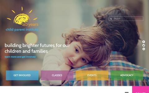 Screenshot of Home Page calparents.org - Child Parent Institute : Home - captured Sept. 26, 2018