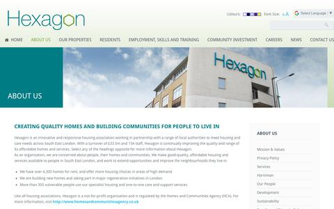 Screenshot of About Page hexagon.org.uk - About Us | Hexagon Housing Association - captured Nov. 27, 2018