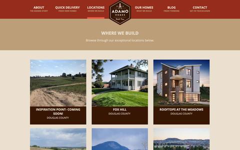Screenshot of Locations Page adamohomes.com - Communities / Locations | Colorado Homebuilder | Adamo Homes - captured Oct. 21, 2018