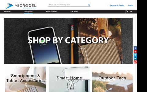 Screenshot of Products Page microcel.com - Microcel Categories - captured Nov. 28, 2016