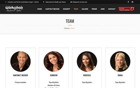Screenshot of Team Page work-at-hair.com - Team – work@hair - captured June 9, 2018