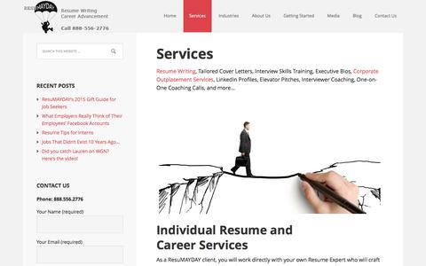 Screenshot of Services Page resumayday.com - Resume Writing, Career Coaching, Outplacement & Job Tools - captured Jan. 11, 2016