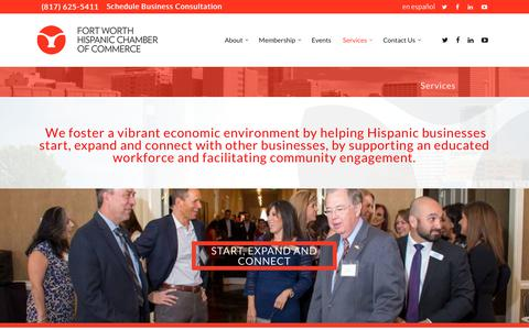 Screenshot of Services Page fwhcc.org - Services – Fort Worth Hispanic Chamber of Commerce - captured Oct. 10, 2018
