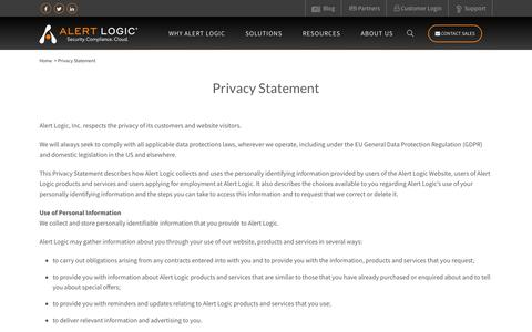 Screenshot of Privacy Page alertlogic.com - Privacy Statement - captured May 10, 2018