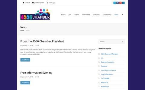 Screenshot of Press Page 4556chamber.com.au - News | 4556 Chamber of Commerce - captured Feb. 16, 2016