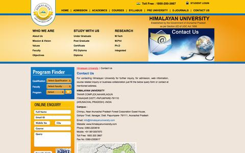 Screenshot of Contact Page himalayanuniversity.com - Contact Us - Himalayan University - captured Sept. 30, 2014