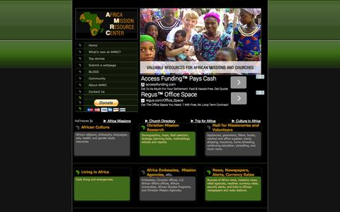 Screenshot of Home Page africamissions.org - Africa Missions Recource Center: Africa Christian Missions, Missionaries, Volunteer, African Churches and Mission Trip Resources - captured Oct. 4, 2014