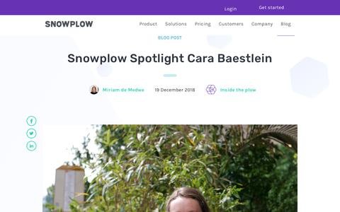 Screenshot of Blog snowplowanalytics.com - Snowplow Spotlight Cara Baestlein - captured Feb. 10, 2020
