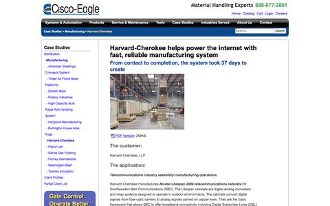 Screenshot of Case Studies Page cisco-eagle.com - Harvard Cherokee Manufacturing System by Cisco-Eagle - captured Jan. 5, 2017