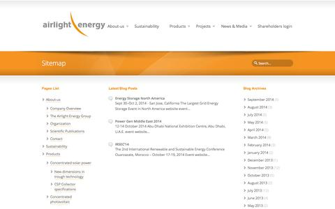 Screenshot of Site Map Page airlightenergy.com - Sitemap | AIRLIGHT ENERGY - captured Oct. 4, 2014