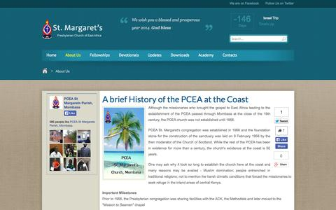Screenshot of About Page pceastmargarets.org - PCEA St Margarets Church, Mombasa - About Us - captured Oct. 1, 2014