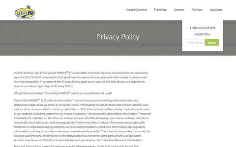 Screenshot of Privacy Page youvegotmaids.com - Privacy Policy | You've Got MAIDS - captured Oct. 19, 2018