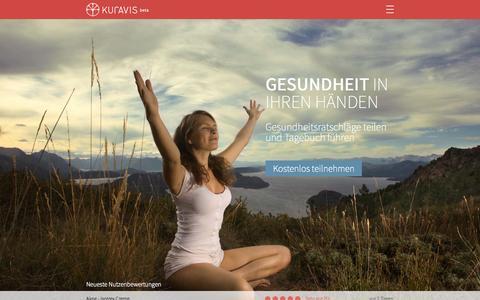 Screenshot of Home Page kuravis.de - Bewertungen von Behandlungen, Medikamenten, Therapien, alternativen Heilmethoden - KURAVIS - captured Sept. 30, 2014