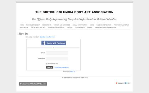 Screenshot of Login Page webs.com - Login - The British Columbia Body Art Association - captured Sept. 13, 2014