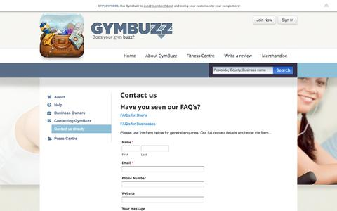 Screenshot of Contact Page gymbuzz.com - GymBuzz   Contact GymBuzz Directly - captured Oct. 3, 2014