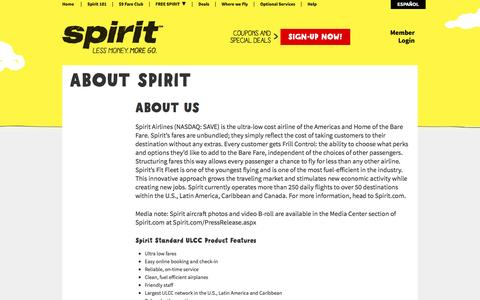 Screenshot of About Page spirit.com - About Us - captured Aug. 19, 2016