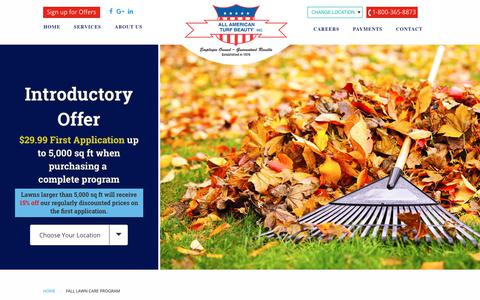 Screenshot of Signup Page allamericanturf.com - Fall Lawn Care Program - All American Turf Beauty, Inc. - captured Nov. 1, 2018