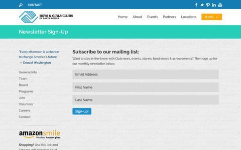 Screenshot of Press Page smbgc.org - Newsletter Sign-Up | Boys & Girls Clubs of Santa Monica - captured Oct. 5, 2014