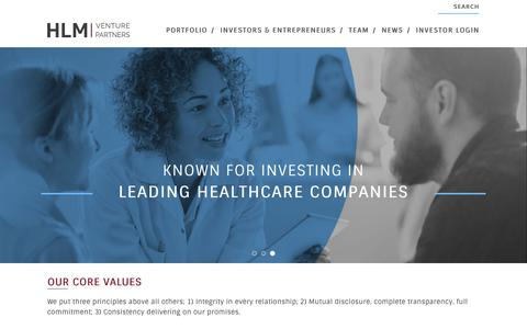 Screenshot of Home Page hlmvp.com - HLM Venture Partners - captured Oct. 11, 2018
