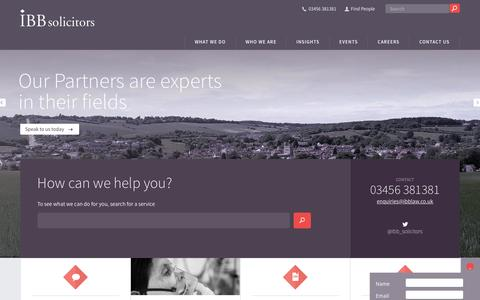 Screenshot of Home Page ibblaw.co.uk - IBB Solicitors in Uxbridge, Buckinghamshire and surrounding areas | West London Solicitors - captured Feb. 3, 2016