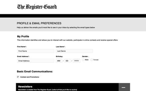 Screenshot of Signup Page registerguard.com - The Register-Guard - captured Oct. 18, 2018