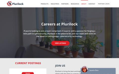 Screenshot of Jobs Page plurilock.com - Careers - Plurilock - captured Nov. 3, 2018