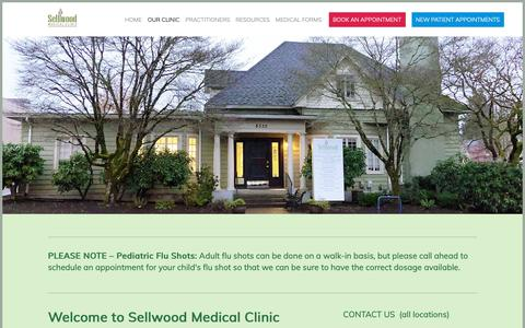 Screenshot of Contact Page sellwoodmd.com - Our Clinic — Sellwood Medical Clinic - captured Oct. 1, 2018