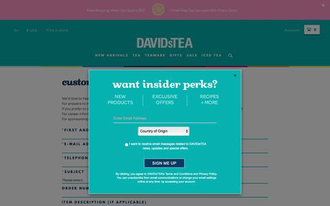 Screenshot of Contact Page davidstea.com - Contact Us - captured May 9, 2017