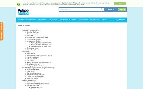 Screenshot of Site Map Page policemutual.co.uk - Sitemap | Police Mutual - captured Sept. 30, 2014